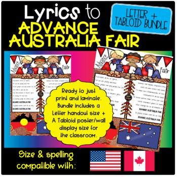 Advance Australia Fair - Full Lyrics, USA Letter size
