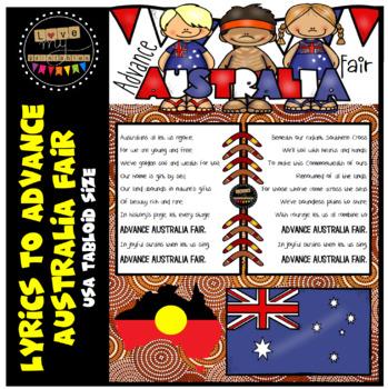 Advance Australia Fair - Full Lyrics - Tabloid size