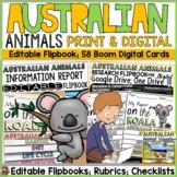 AUSTRALIAN ANIMALS: PRINT & DIGITAL RESEARCH TEMPLATES: GOOGLE CLASSROOM