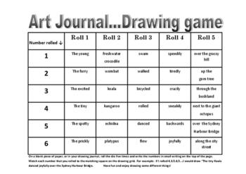 AUSTRALIAN ANIMALS Drawing Game Roll The Dice Art Fun! Creative Writing Stimulus