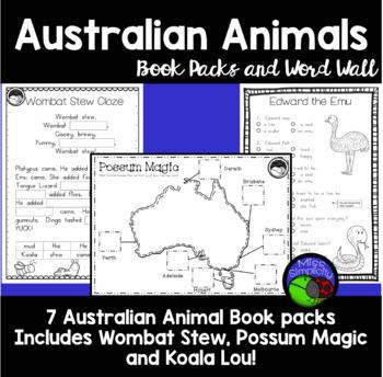 AUSTRALIAN ANIMALS - book pack bundle - WOMBAT STEW koala lou POSSUM MAGIC