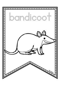 AUSTRALIAN ANIMALS pennants ~ print and colour!