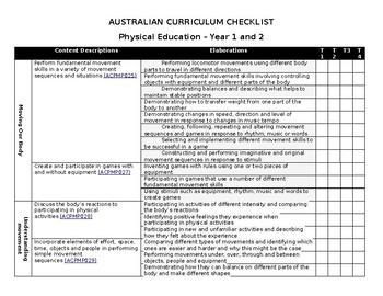 AUSTRALIAN CURRICULUM CHECKLIST Physical Education – Year 1 and 2