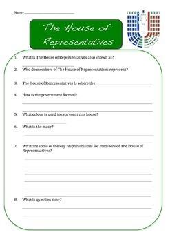 AUSTRALIAN HOUSES OF GOVERNMENT - worksheets