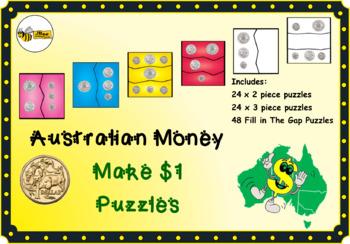 AUSTRALIAN MONEY Make $1 Puzzles - adding coins