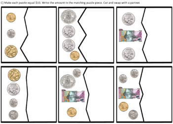 AUSTRALIAN MONEY Make $10 Puzzles — adding coins and notes