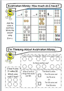 AUSTRALIAN MONEY WORKSHEETS: Set A Year 1 & 2