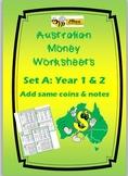 AUSTRALIAN MONEY WORKSHEETS: Set A Year 1 & 2