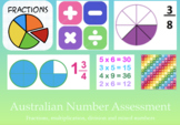 AUSTRALIAN NUMBER ASSESSMENT - Fractions, multiplication,