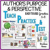 AUTHOR'S PURPOSE AND AUTHOR'S POINT OF VIEW POWERPOINT, NOTES, PRACTICE, TEST