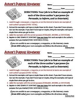 AUTHOR'S PURPOSE Homework