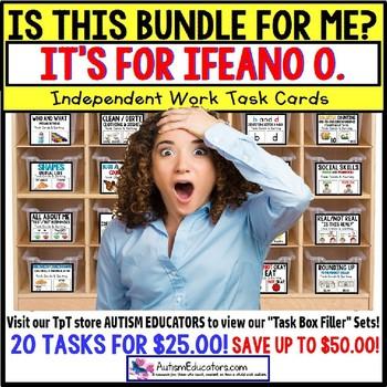 "AUTISM EDUCATORS Custom BUNDLE ONE ""Task Box Filler"" Task Cards for IFEANO O."