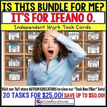 "AUTISM EDUCATORS Custom BUNDLE TWO ""Task Box Filler"" Task Cards for IFEANO O."