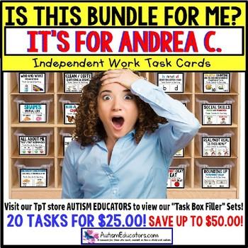 """AUTISM EDUCATORS Custom BUNDLE """"Task Box Filler"""" Task Cards for ANDREA C."""