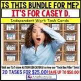 "AUTISM EDUCATORS - Custom BUNDLE ""Task Box Filler"" Task Cards for CASEY D."