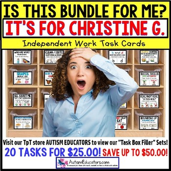 "AUTISM EDUCATORS Custom BUNDLE ""Task Box Filler"" Task Cards for CHRISTINE G."