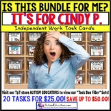 "AUTISM EDUCATORS Custom BUNDLE ""Task Box Filler"" Task Cards for CINDY P."