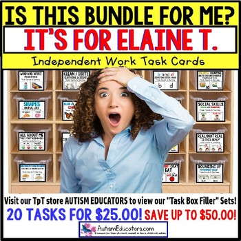 "AUTISM EDUCATORS Custom BUNDLE ""Task Box Filler"" Task Cards for ELAINE T."