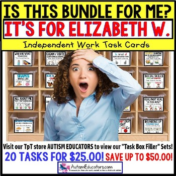 "AUTISM EDUCATORS Custom BUNDLE 2 ""Task Box Filler"" Task Cards for ELIZABETH W."