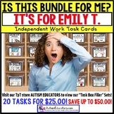 "AUTISM EDUCATORS Custom BUNDLE ""Task Box Filler"" Task Cards for EMILY T."