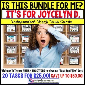 "AUTISM EDUCATORS Custom BUNDLE ""Task Box Filler"" Task Cards for JOYCELYN D."