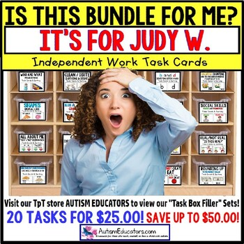 "AUTISM EDUCATORS - Custom BUNDLE ""Task Box Filler"" Task Cards for JUDY W."