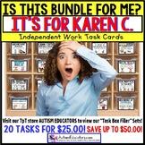 """AUTISM EDUCATORS Custom BUNDLE """"Task Box Filler"""" Task Cards for KAREN C."""