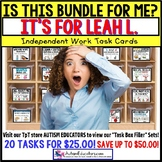 "AUTISM EDUCATORS Custom BUNDLE ""Task Box Filler"" Task Cards for LEAH L."