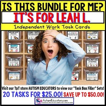 """AUTISM EDUCATORS Custom BUNDLE """"Task Box Filler"""" Task Cards for LEAH L."""