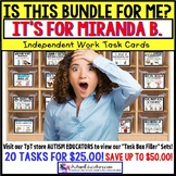"AUTISM EDUCATORS Custom BUNDLE ""Task Box Filler"" Task Cards for MIRANDA B."