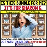 "AUTISM EDUCATORS Custom BUNDLE ""Task Box Filler"" Task Cards for SHARON G."