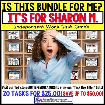 "AUTISM EDUCATORS Custom BUNDLE ""Task Box Filler"" Task Cards for SHARON M."