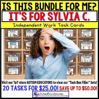 "AUTISM EDUCATORS Custom BUNDLE ""Task Box Filler"" Task Cards for SYLVIA C."