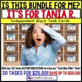 """AUTISM EDUCATORS Custom BUNDLE """"Task Box Filler"""" Task Cards for TANIA R."""