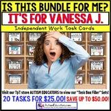 "AUTISM EDUCATORS Custom BUNDLE ""Task Box Filler"" Task Cards for VANESSA J."
