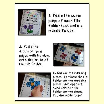 AUTISM FILE FOLDER TASKS/WORK JOBS FOR LETTER MATCHING