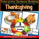 THANKSGIVING Adapted Book - Build A Sentence with Pictures for Special Education