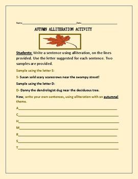AUTUMN ALLITERATION ACTIVITY