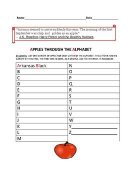 AUTUMN: APPLES THROUGH THE ALPHABET: A SCIENCE VOCABULARY ACTIVITY