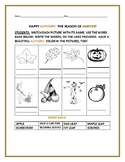 AUTUMN COLORING PAGE WITH WORDS
