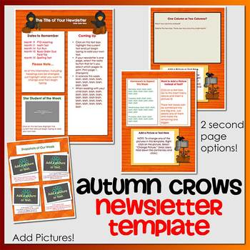 AUTUMN CROWS theme - Newsletter Template WORD