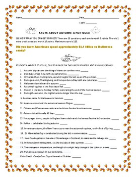 AUTUMN FACTS: A TRUE/ FALSE QUIZ: SEE HOW MANY YOU CAN GET CORRECT!