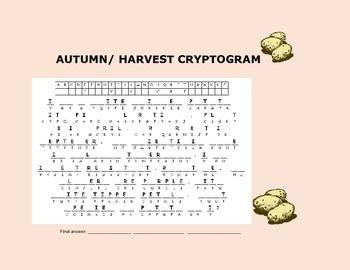 AUTUMN/ HARVEST CRYPTOGRAM! FUN & CHALLENGING