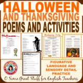 AUTUMN HOLIDAYS POETRY Halloween and Thanksgiving Poetry with Activity and Key