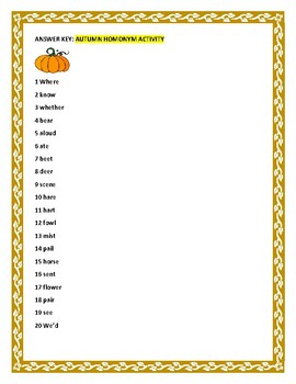 AUTUMN HOMONYM ACTIVITY w/ Answer Key