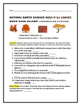AUTUMN LEAVES:  A T/F QUIZ: TAKE THE CHALLENGE!