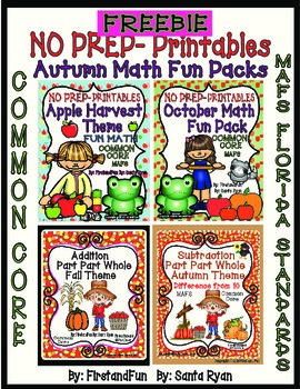 AUTUMN MATH FREEBIE FROM MY MATH BUNDLES AND PART PART WHOLE PACKS