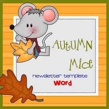 AUTUMN MICE - Newsletter Template WORD
