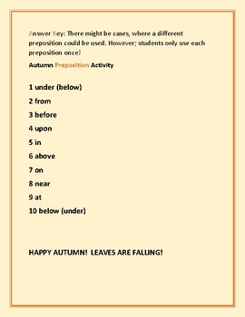 AUTUMN PREPOSITION ACTIVITY