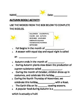 AUTUMN RIDDLE ACTIVITY